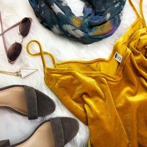 Golden Yellow Velvet Cami